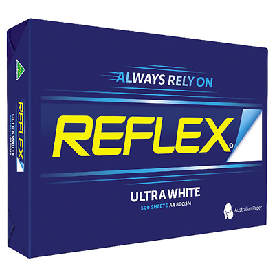Reflex Copy Paper A4 U.White 80g/Square metre 500 Sheets/Ream 5 Reams per Carton