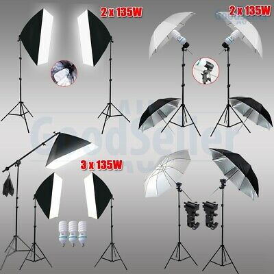 Photography Continuous Softbox Umbrella Lighting Stand Soft Box Boom Arm Kit AU