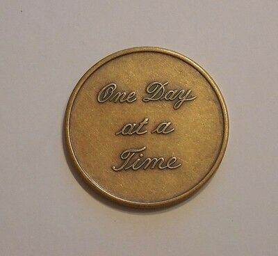 AA Bronze One Day At A Time  Script Sobriety Chip Coin Token Medallion