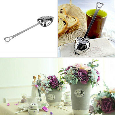Hot Heart Shape Stainless Steel Tea Leaf Herbal Filter Infuser Spoon Strainer XC