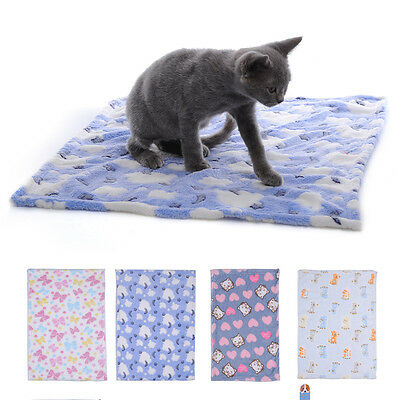 Warm Pet Mat Paw Print Cat Dog Puppy Fleece Soft Blanket Bed Cushion  Kitten
