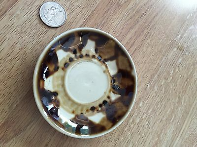 "ANTIQUE BROWN Earthtones BUTTER PAT Miniature SAUCER 3.75"" Ceramic Pottery"