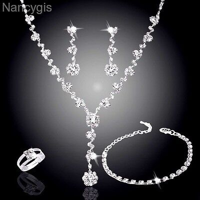 Silver Crystal 4pcs Necklace Bracelet Earrings Ring Bridal Wedding Jewellery Set