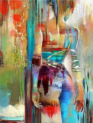 NEW-Hand-painted Abstract Canvas Oil Painting Girl Figure Naked Woman Wall Decor