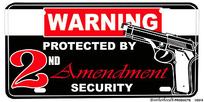 Protected By 2nd Amendment Security Aluminum License Plate