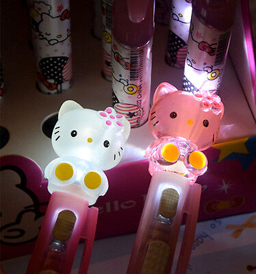 New Cute Kawaii hellokitty Led Lighting Push Ball Point Pen Stationery LA3035