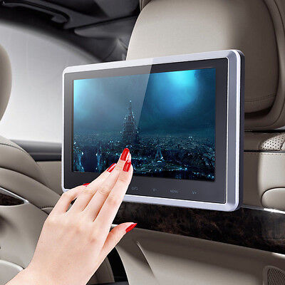 "10"" HD Digital LCD Screen Car Headrest Monitor DVD/USB/SD Player IR/FM Radio"