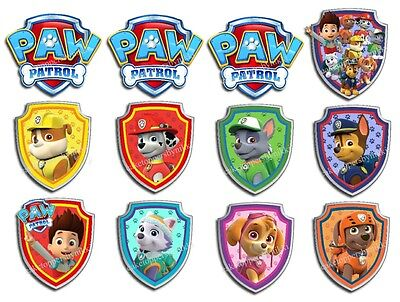 Edible PAW PATROL SHIELDS ALL DOGS Icing Great PAW-TY Cake Cupcake Toppers