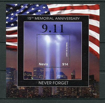 Nevis 2016 MNH 11th September 15th Memorial 1v S/S New York Architecture Stamps