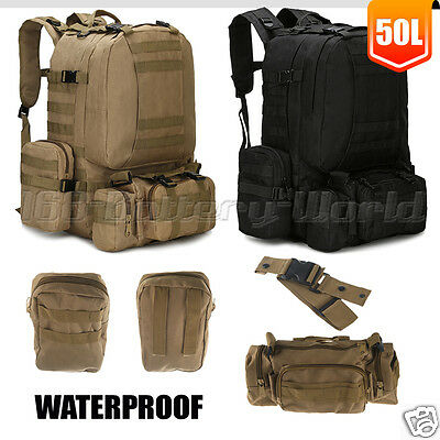 50L Molle Military Army Bag Tactical Rucksack Backpack Camping Hiking Trekking