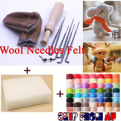 20 Colors Wool Needles Felt Tool Set + Needle Felting Mat Starter Kit Craft DIY