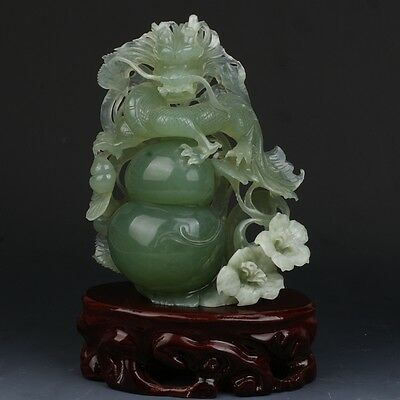 Chinese exquisite natural Xiuyan jade hand-carved Dragon statue