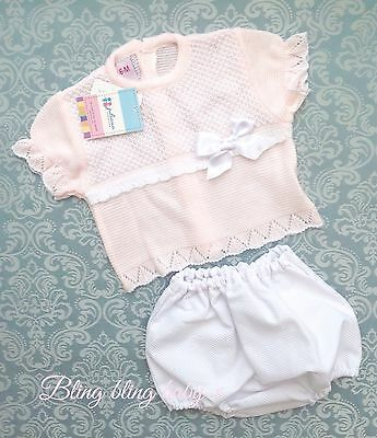 Spanish Baby Girls Knitted Top  And Shorts Outfit Set Pink / Romany 3-6 Months
