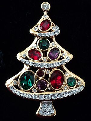 Signed Swan Swarovski Red Green Clear Crystal Christmas Tree Brooch Pin