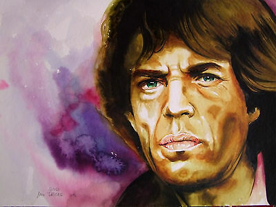Zeichnung Aquarell  Mick Jagger Rolling Stones Star  Drawing DIN A3 - NICOLE