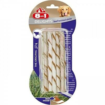8in1 Delights Twisted Sticks Beef 10pcs Os a mâcher pour chien