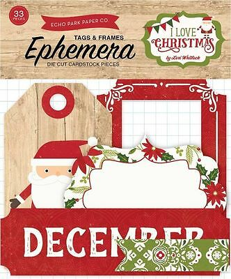 "Echo Park ""i Love Christmas"" Ephemera Tags & Frames 33 Pieces  Scrapjack's Place"