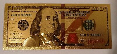 JUNE SALE -US America $100 One Hundred Dollars Banknote 24k Pure Gold /w Sleeve
