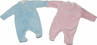 Baby Premature Velour Sleepsuit  All In One Romper 3-5lbs 5-8lbs Pink / Blue