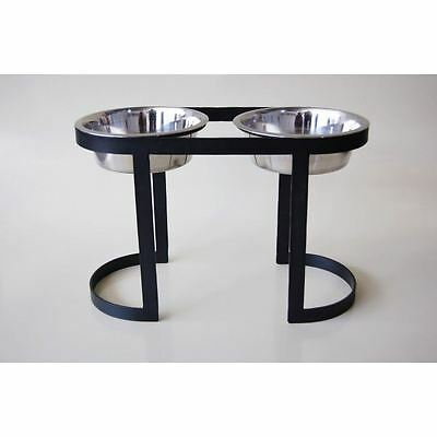 Metal Simplistic Style Raised Double Dog Bowl In Black