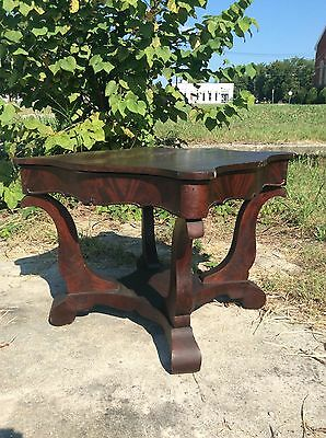 Antique 1840s Victorian Empire Rococo Scroll Foot Flame Mahogany Center Table