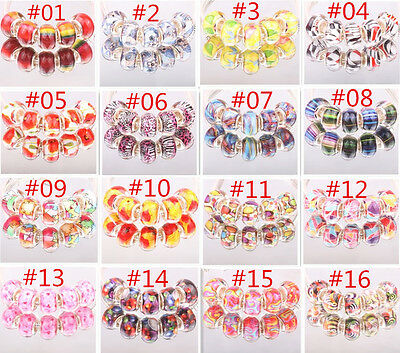 HOT 5pcs SILVER MURANO bead LAMPWORK fit European Charm Bracelet DIY wholesale