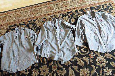 3 Coca Cola 2 Pocket Long Sleeve Shirt Gray Delivery Driver Work Uniform 17-17.5