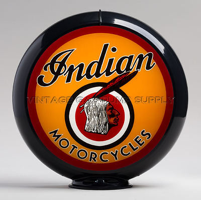 "Indian Motorcycle 13.5"" Gas Pump Globe w/ Black Plastic Body (G144)"