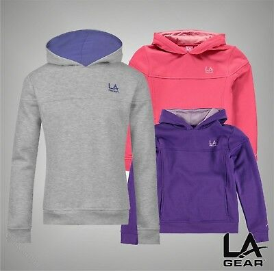 Girls LA Gear Fleece Lined Over The Head Hoody Top Sizes Age 7-13