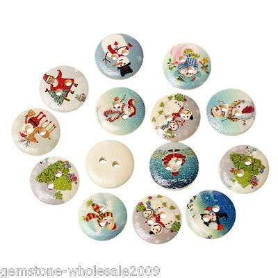 W09 100PCs Mixed Christmas Pattern Sewing Wooden Buttons DIY Scrapbook Ornaments