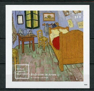 St Kitts 2016 MNH World Famous Paintings Vincent Van Gogh 1v Imperf S/S I Stamps