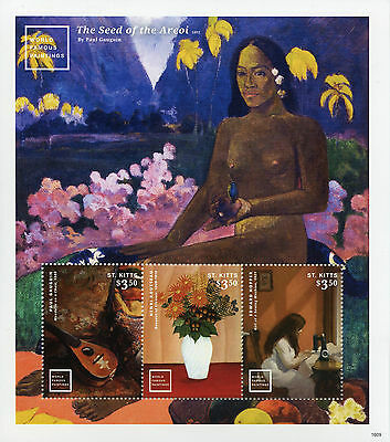 St Kitts 2016 MNH World Famous Paintings Gauguin Hopper 3v M/S II Art Stamps