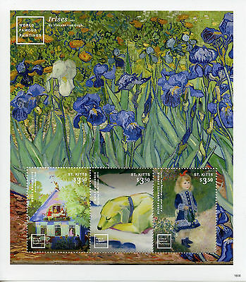 St Kitts 2016 MNH World Famous Paintings Van Gogh Renoir 3v M/S I Art Stamps