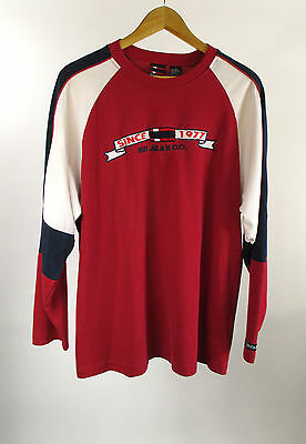 Vintage 90's Bugle Boy Mens Red White Blue Long Sleeve Rugby Shirt Size L Large