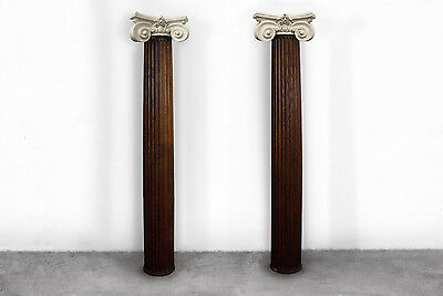 Pair of Carved Oak Pillars with Plaster Capitals