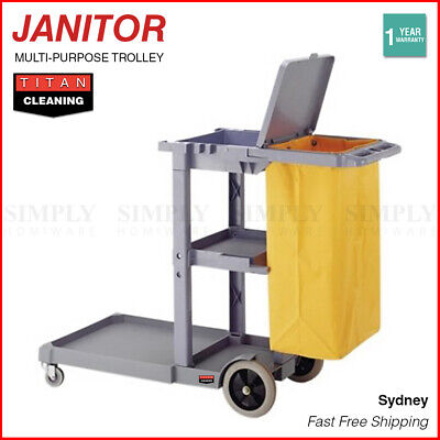 Janitor Trolley Cleaning Cart Cleaner Utility Grey Tray 3 Shelf Wheels Bag Lid