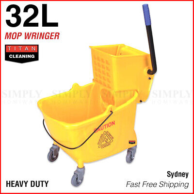 Mop Bucket Wringer Buckets 32L Heavy Duty Yellow Swivel Wheels Commercial