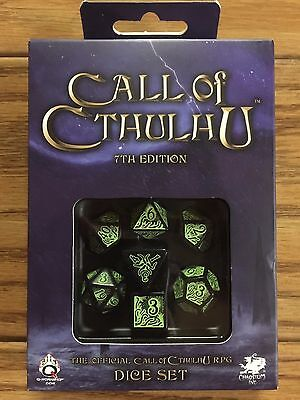 Call of Cthulhu Black/Green 7th Edition Dice Set (7)