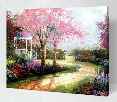 """DIY Paint By Number 16""""*20"""" Kit Beauty Park On Canvas With Nice Box"""