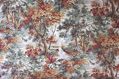 Antique French c1870 Rare Double Sided Printed Forest Scenic Toile Fabric