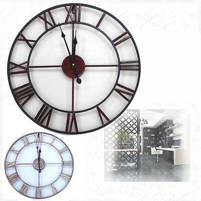 Large Vintage Wall Clock Metal Industrial Iron Vintage French Provincial Antique