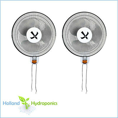 "2x 16"" Oscillating Wall Fan 400mm Room Ventilation Hydroponics Air Cooling"