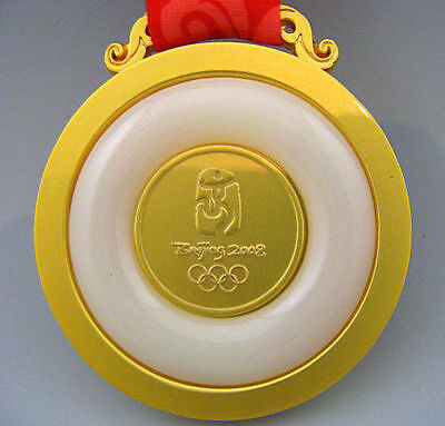 2008 BeiJing Olympic Winners Gold Jade Medals 1:1 With Ribbon Souvenir Gift