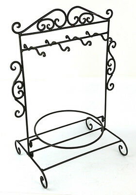 French Country Vintage Style Wrought Iron Black Plate Mug Holder Stand Organiser