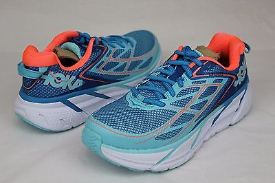 Hoka One One Clifton 3 Womens Size 8 Us Color:  Blue Jewel / Neon Coral