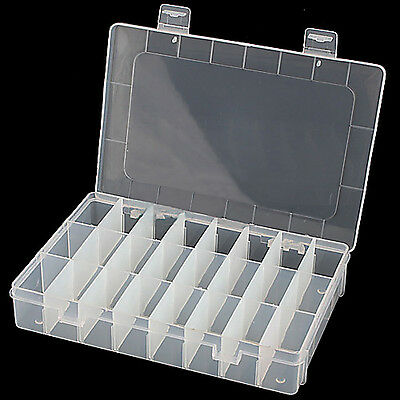 Adjustable 24 Compartment Box Jewelry Earring Container Plastic Storage Gift