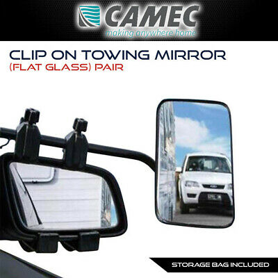 Pair of Camec Clip On Towing Mirrors / Universal Fit Mirror for Caravan, Trailer