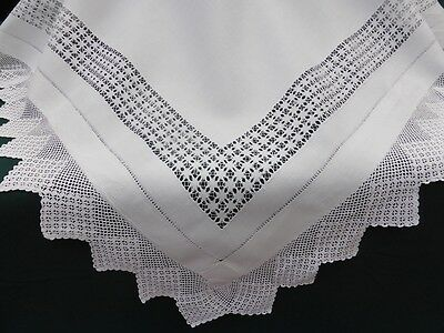 Antique Linen Tablecloth-Hand Tenerife Needle Lace-Crochet-46""