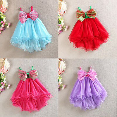 Girls Dress Big Bow Vintage Lace Tulle TuTu Beach Party Birthday Summer Size 1-7