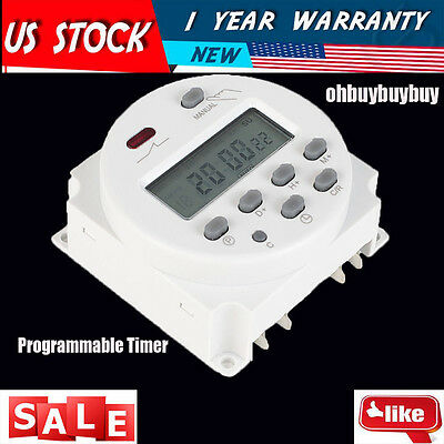 DC 12V Digital LCD Power Programmable Timer Time switch Relay 16A CN101A US OH